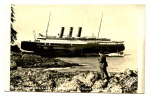Grand Trunk Pacific Line - SS Prince Rupert Wreck March 23, 1917 *RPPC