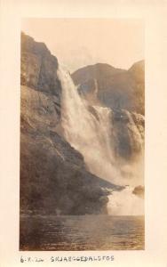 Skjaeggedalsfos Norway Falls Scenic View Real Photo Antique Postcard J79712