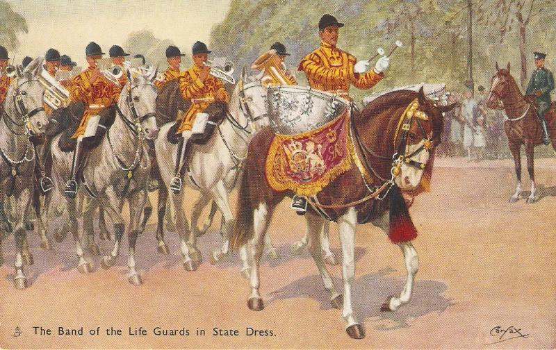 Carfax. The Band of the Life Guards. Horses Tuck Oilette Military in Lo