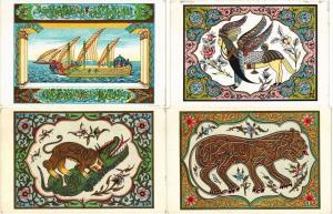 PERSIA PERSE IRAN 6 VINTAGE ART LITHOGRAPH LITHO CPA