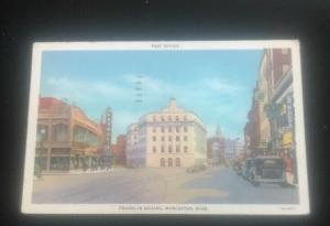 1935 Franklin Square WORCESTER MASS.postcard Foxpoli Theater Autos