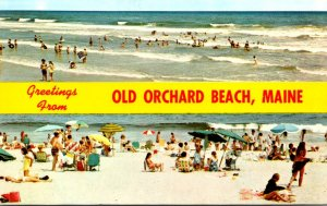Maine Old Orchard Beach Greetings Showing Beach Scenes