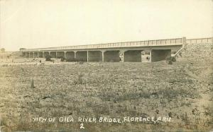 C-1915 View of Gila River Bridge Florence Arizona RPPC Photo Postcard 3413