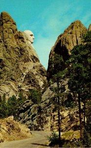 South Dakota Mount Rushmore Face Of George Washington From Horsethief Lake Road