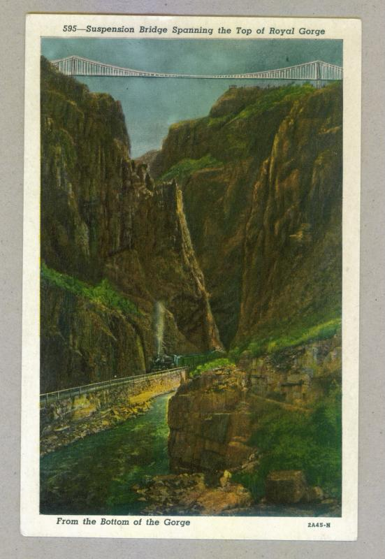 Suspension Bridge Spanning Top of Royal Gorge, unused Postcard