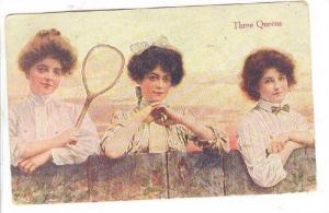Three Queens of Tennis looking over a fence, PU-1909