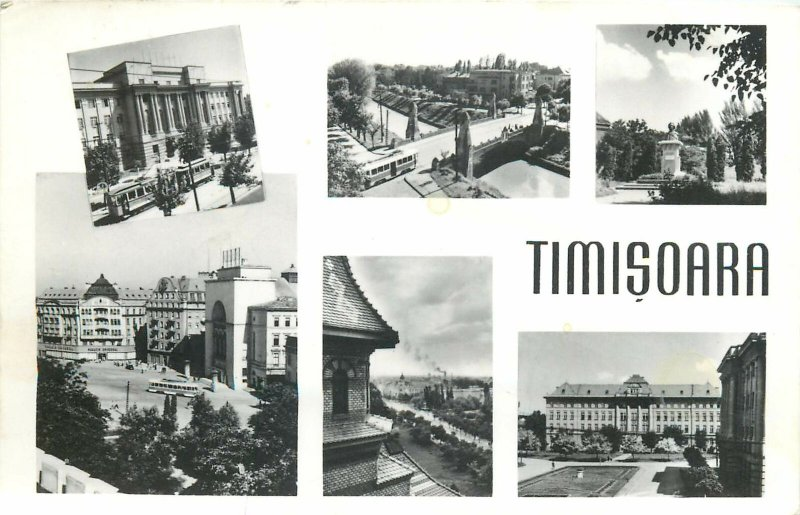 Romania Timisoara multi view strada monument pod  Postcard