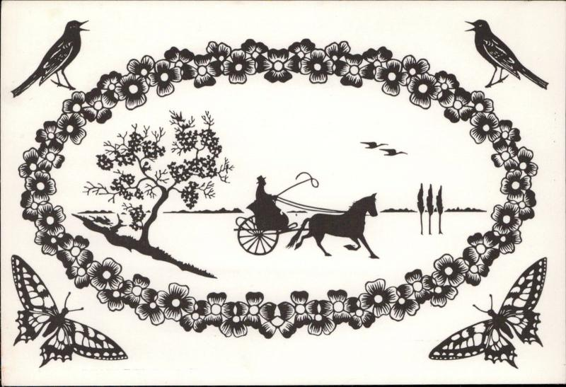 silhouette art nouveau horse carriage bird butterfly