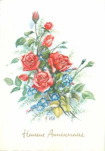 Postcard Greetings flowers flowers heureux anniversaire bouquet rose red