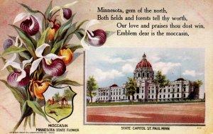 MN - State Flower & Capitol. Mocassin & St Paul