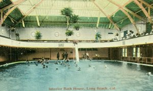 Postcard Early View of Interior Bath House in Long Beach, CA.   S5