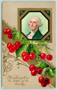 Patriotic~George Washington Pic~Father of Country~Cherry Banner~Emboss~Winsch