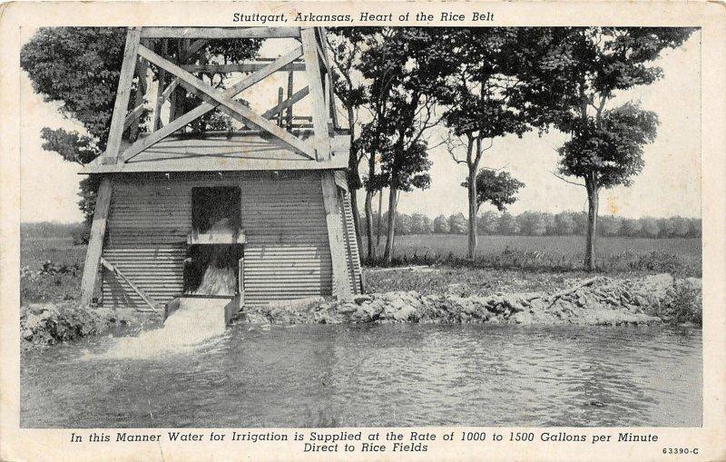 G54/ Stuttgart Arkansas Postcard c1940s Irrigation Rice Fields Farming