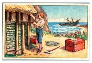 Building a Hut, Robinson Crusoe, Echte Wagner German Trade Card *VT31P