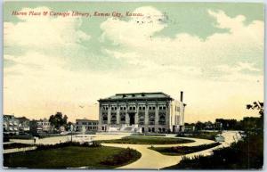 Kansas City, Kansas Postcard Huron Place & Carnegie Library 1911 Cancel