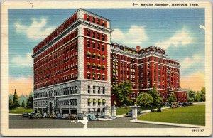 1940s MEMPHIS, Tennessee Postcard BAPTIST HOSPITAL Street View Linen Unused