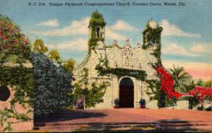 Florida Miami Coconut Grove Plymouth Congregational Church Curteich