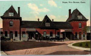 Depot at New Britain CT c1913 Vintage Postcard T28