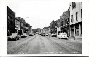 Monticello Iowa~First Street~Army Surplus Store~Hamm's Beer~1950s Cars~RPPC