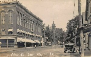 Saco ME Main Street View Storefronts Old Cars Real Photo Postcard