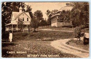 1908 BETHANY PARK INDIANA*C.W.B.M. BUILDING*Y.P.S.C.E. BUILDING*ANTIQUE POSTCARD