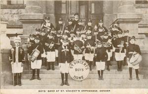 Denver CO St Vincent's Orphanage Boys Band~Bass Drum~Trumpets~Clarinets~c1910 PC