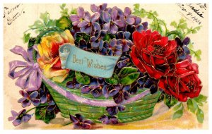 Best Wishes , basket of Flowers