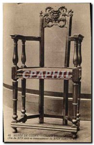 Old Postcard Musee Cluny chair has arms