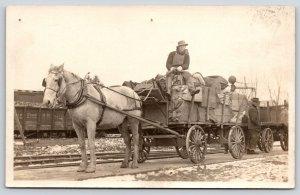 Real Photo Postcard~Young Man Drives Horse Wagon~Erie Railroad Cars~c1915 RPPC