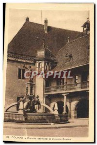 Old Postcard Colmar Fontaine Schwendi And Old Customs
