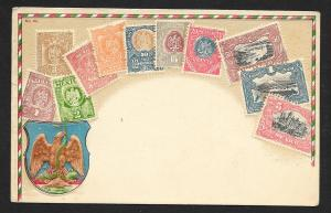 MEXICO Stamps on Postcard Embossed Shield Used c1908