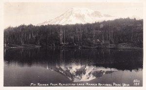RP; WASHINGTON, 1930-1940s; Mt. Rainier From Reflection Lake, Rainier Nationa...