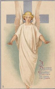 Happy Easter White Robed Angel With Silver Cross 1908 Tuck