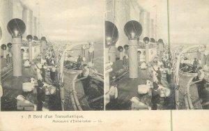 Postcard Stereographic image Transatlantic steamer cruise ship preparaisons