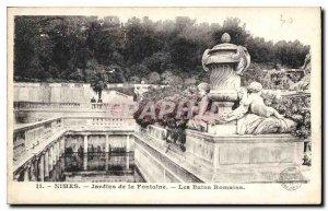 Postcard dual Old Nimes Jardins de la Fontaine Nimes the Roman Baths and the ...