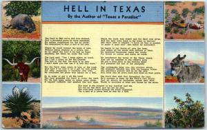 1940s Texas Comic Postcard HELL IN TEXAS Multi-View / Poem Curteich Linen