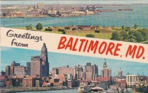Greetings From Baltimore Maryland With Skyline and Fort McHenry 1964