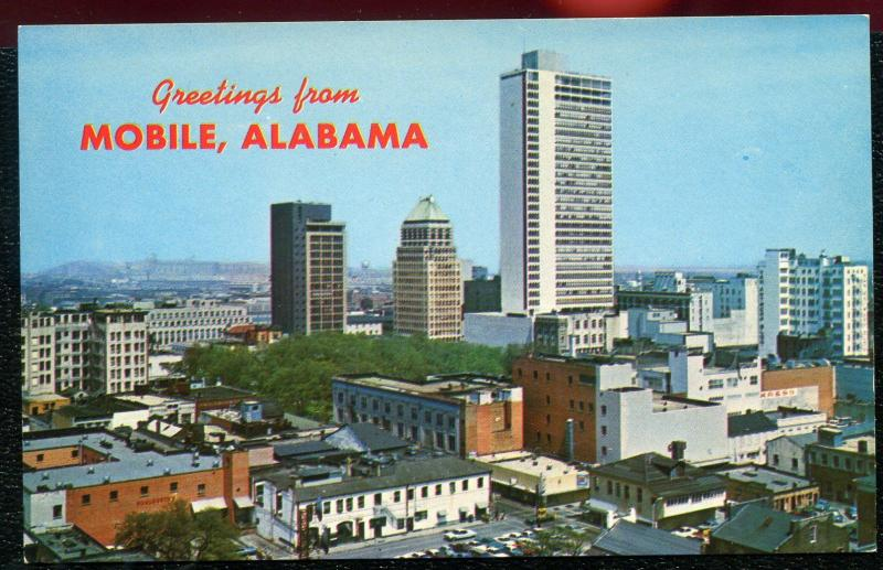 Mobile Alabama al air aerial view greetings chrome postcard