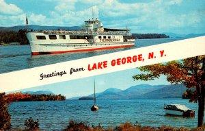 New York Lake George Greetings Showing MV Ticonderoge and The Lake
