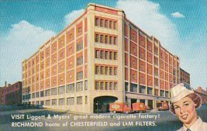 Advertising Liggett & Myers' Cigarette Factory Sixth & Cary Streets Richmond ...