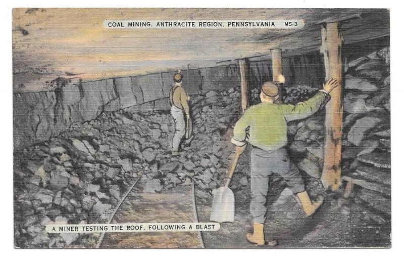 Anthracite Coal Mining Region PA Miner Testing Roof Postcard