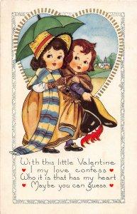 G12/ Valentine's Day Love Holiday Postcard c1910 Cute Kids Umbrella 15