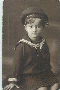 Postcard Social history girl portrait navy suit costume