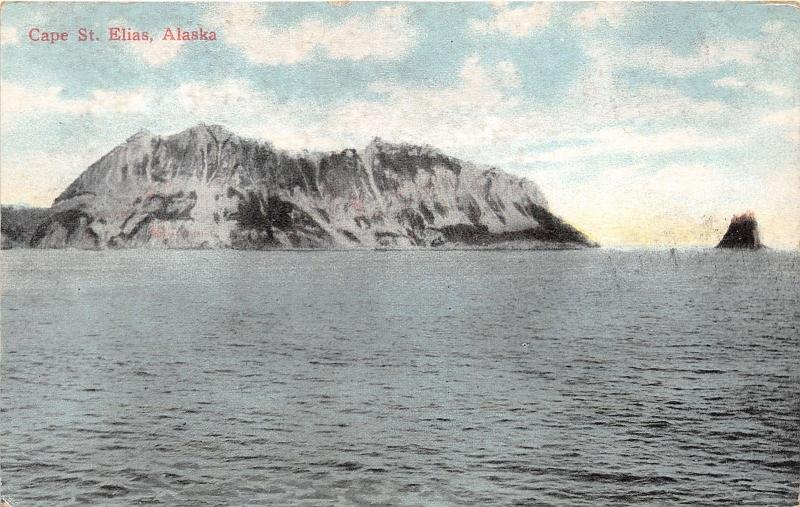 Cape St Elias Alaska (Kayak Island) View from Pacific Ocean~c1910 Postcard