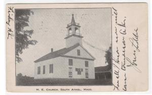 M E Church Athol Massachusetts 1908 postcard