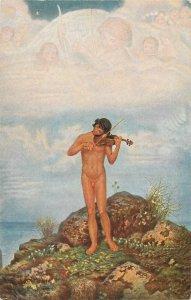 PAUL KAMMERER altitude violin player early art postcard