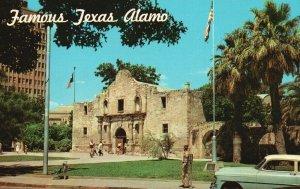 San Antonio, Texas, TX, The Alamo, Old Car, Chrome Vintage Postcard g9069