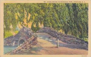 New York Syracuse Stone Bridge In Onondaga Park