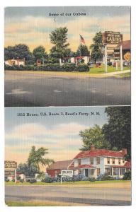 Motel Cabins 1815 House Reeds Ferry NH White Mountains Vintage 1951 Postcard