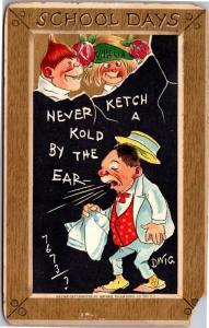 Tuck School Days Series 170 Ophelia Dwig Students Slate Vintage Postcard I07